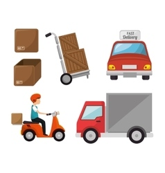 Fast delivery set icons vector