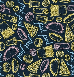 Fast Food Color Chalk Pattern vector image