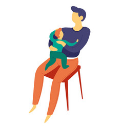 Father sitting with baby son on lap isolated vector