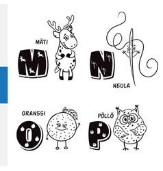 Finnish alphabet roe needle orange owl vector