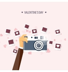 Flat background with photos vector