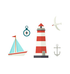 flat ship lighthouse compass anchor and seagull vector image
