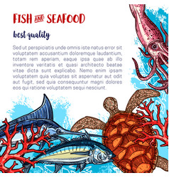 Fresh seafood and fish food poster vector