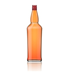 Glass whiskey bottle with red cap vector