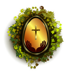 golden easter egg with a cross and a wreath of vector image