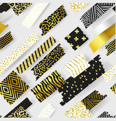 golden glitter seamless pattern geometric elements vector image