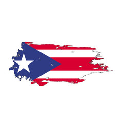 grunge brush stroke with puerto rico national vector image