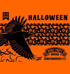 halloween party invitation with flying raven vector image