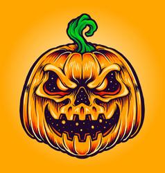 halloween pumpkin creepy smile vector image