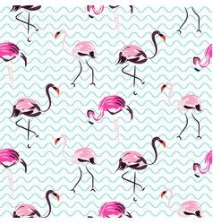 Hand drawn purple flamingo bird blue waves vector