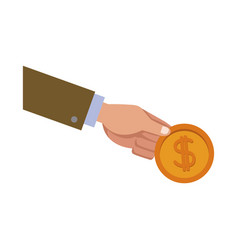 Hand holding gold coin dollar money vector