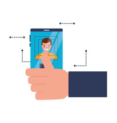 hand with mobile face scan man vector image