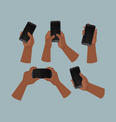Hands african american people holding phone vector