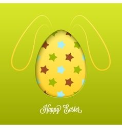 Happy Easter card with cut egg and line rabbit vector image