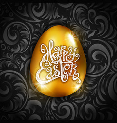happy easter type greeting card with egg vector image
