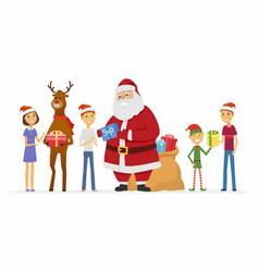 happy santa claus reindeer and children - cartoon vector image