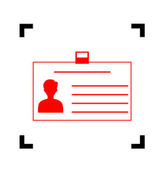 Identification card sign red icon inside vector