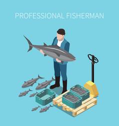 Industrial fishing isometric image vector