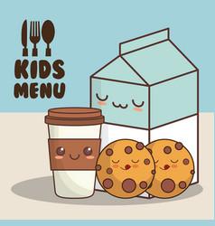 Kids menu milk cookies vector