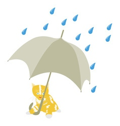 Kitten Under Umbrella vector image