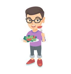 little caucasian boy eating vegetable salad vector image