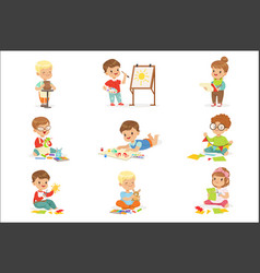 little kids in art class in school doing different vector image
