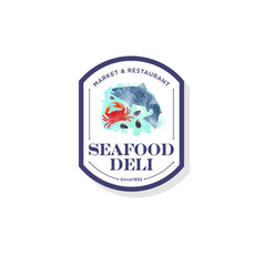 Logo seafood watercolor red crab shells fish vector