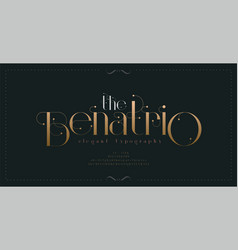 Luxury vintage alphabet letters font and number vector