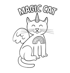 magic unicorn cat fashion design vector image