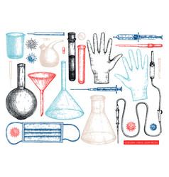 medicine equipment and protectors against corona vector image