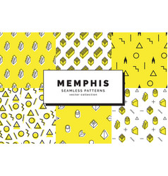 memphis seamless patterns set vector image