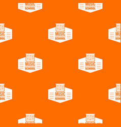 Music school pattern orange vector