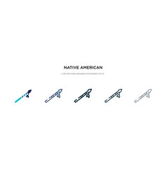 Native american spear icon in different style vector