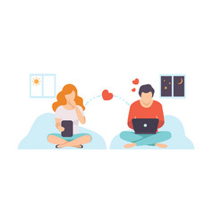 online dating couple in love communicating via vector image
