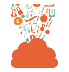 Orange cloud in cumulus shape with set collection vector