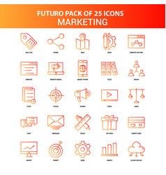 orange futuro 25 marketing icon set vector image