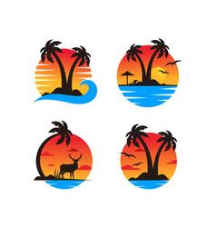 palm tree on a beach logo template vector image