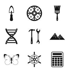 Past icons set simple style vector