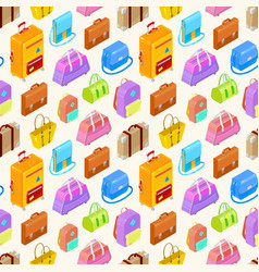 Pattern of colorful isometric bags vector