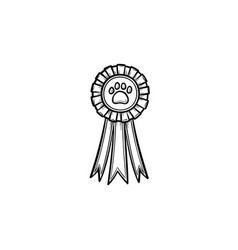 Pets award rosette hand drawn outline doodle icon vector
