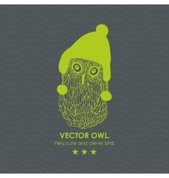 Print with cute and clever owl in scandinavian hat vector