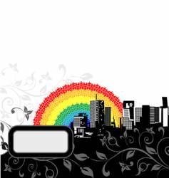 rainbow city vector image