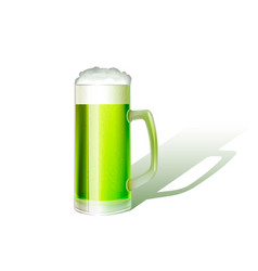 realistic glass of green beer vector image