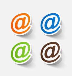 Realistic paper sticker e mail sign vector
