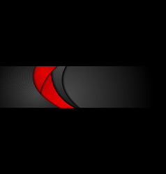 Red and black abstract wavy corporate banner vector