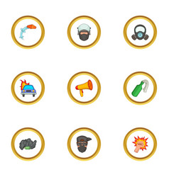 Riot icons set cartoon style vector