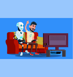 robot playing video game with friend vector image