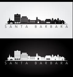 Santa barbara california skyline and landmarks vector