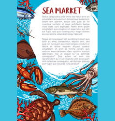 seafood market and fish restaurant poster vector image