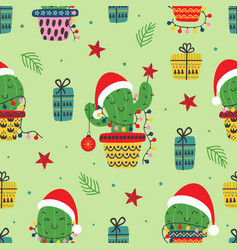 seamless pattern with christmas cactus vector image